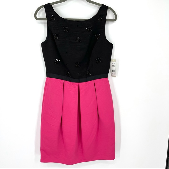 Eliza J sleeveless mini beaded pleated dress 8
